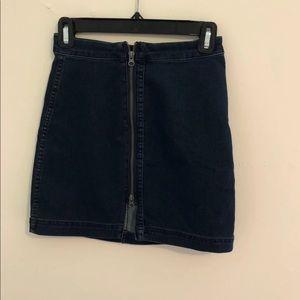 Free People Denim Zip Up Skirt